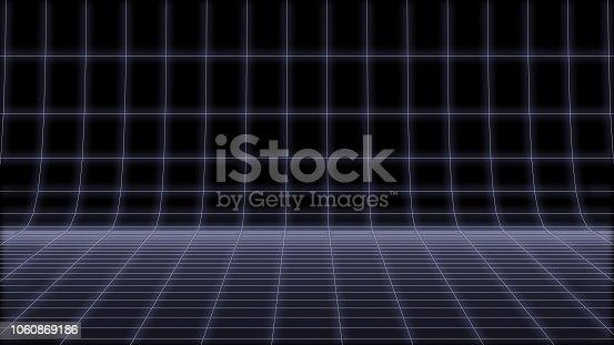 istock 80s Retro neon round net Background Loop 3d render 1060869186
