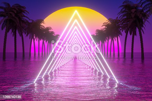 80s Retro Sci-Fi Futuristic Landscape Background, low poly modeling, galaxy, nebula. Empty Frame, Tunnel. Sea and Palm Trees.