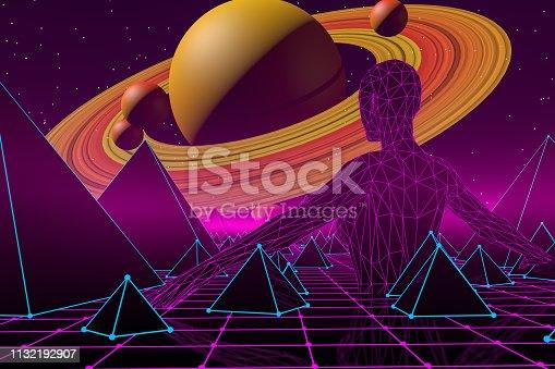 453101991 istock photo 80s Retro Sci-Fi Futuristic Landscape with Cyborg Neon Lights Abstract Background 1132192907