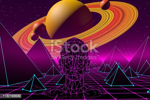 453101991 istock photo 80s Retro Sci-Fi Futuristic Landscape with Cyborg Neon Lights Abstract Background 1132193530