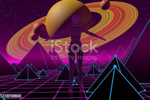 453101991 istock photo 80s Retro Sci-Fi Futuristic Landscape with Cyborg Neon Lights Abstract Background 1132193645