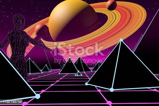 453101991 istock photo 80s Retro Sci-Fi Futuristic Landscape with Cyborg Neon Lights Abstract Background 1132193700