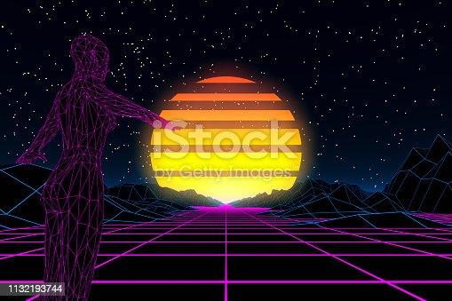 453101991 istock photo 80s Retro Sci-Fi Futuristic with Cyborg Abstract Background Neon Lights 1132193744