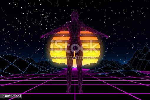 453101991 istock photo 80s Retro Sci-Fi Futuristic with Cyborg Abstract Background Neon Lights 1132193779