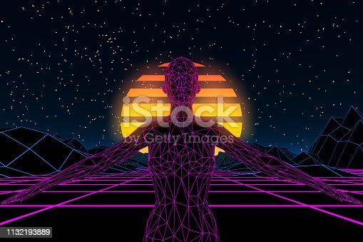 453101991 istock photo 80s Retro Sci-Fi Futuristic with Cyborg Abstract Background Neon Lights 1132193889