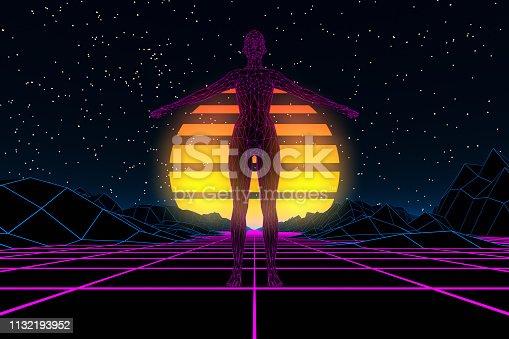 453101991 istock photo 80s Retro Sci-Fi Futuristic with Cyborg Abstract Background Neon Lights 1132193952