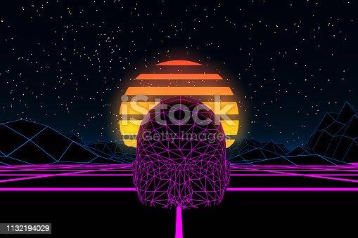 453101991 istock photo 80s Retro Sci-Fi Futuristic with Cyborg Abstract Background Neon Lights 1132194029