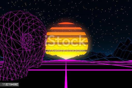 453101991 istock photo 80s Retro Sci-Fi Futuristic with Cyborg Abstract Background Neon Lights 1132194582