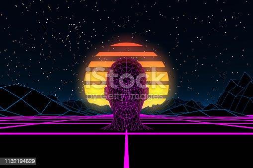 453101991 istock photo 80s Retro Sci-Fi Futuristic with Cyborg Abstract Background Neon Lights 1132194629
