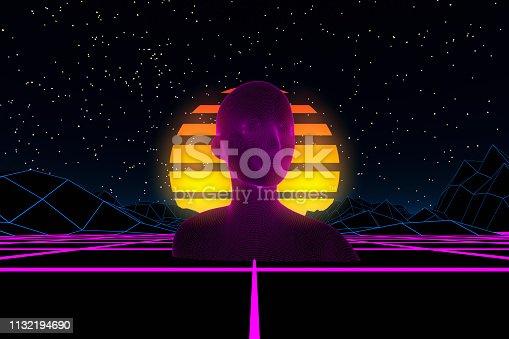 453101991 istock photo 80s Retro Sci-Fi Futuristic with Cyborg Abstract Background Neon Lights 1132194690