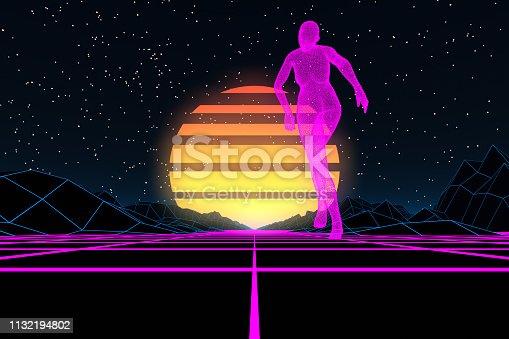 453101991 istock photo 80s Retro Sci-Fi Futuristic with Cyborg Abstract Background Neon Lights 1132194802