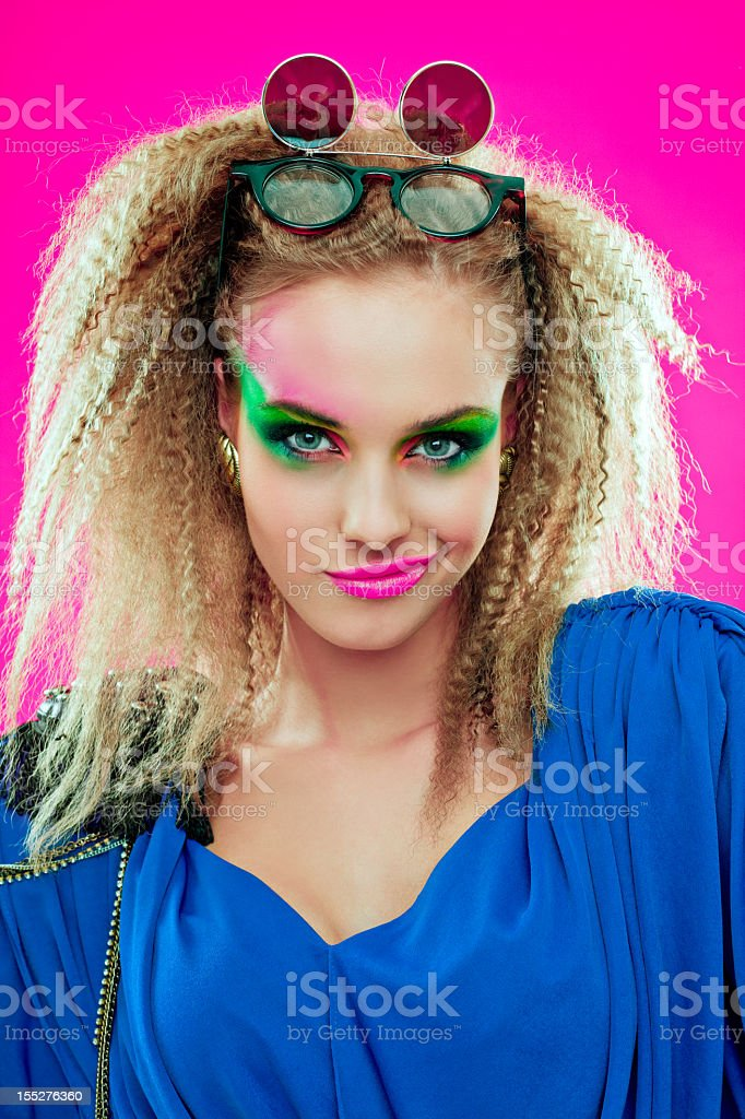 80s style pretty girl stock photo