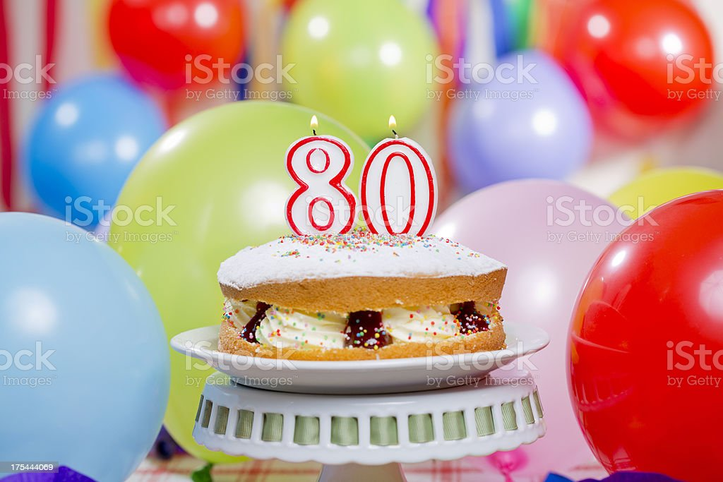 80th Birthday Cake Candles Royalty Free Stock Photo