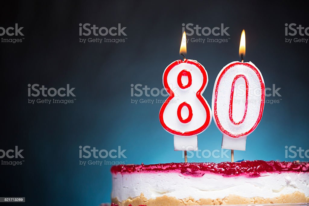 80th Birthday candles stock photo
