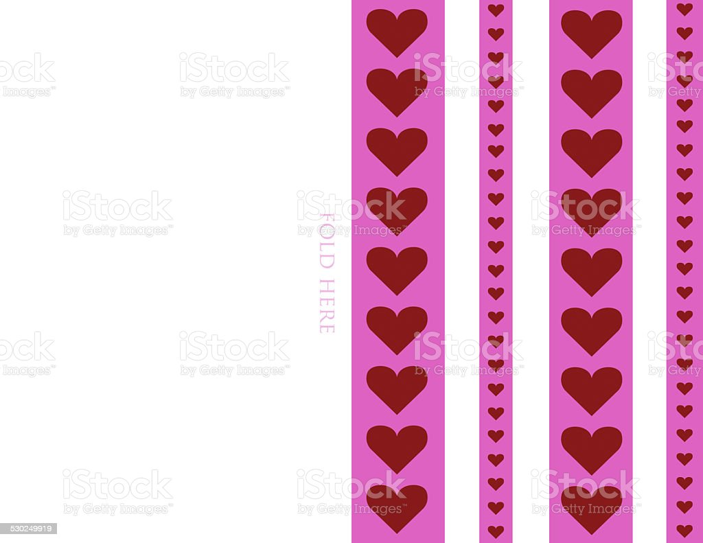 85x11 printable foldable heart stripe valentines day card background