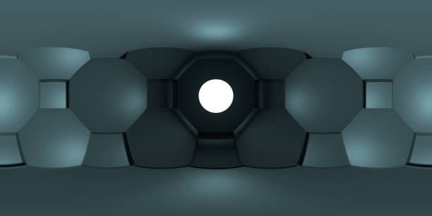 8k HDRI-Karte mit geometrischen Formen wie kugelförmiger Umgebung, futuristischem Panoramahintergrund, kontrastreifenden Innenlichtquelle – Foto
