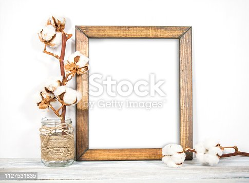 istock 8x10 16x20 Portrait Frame, Natural Wood, Styled Wooden Frame 1127531635