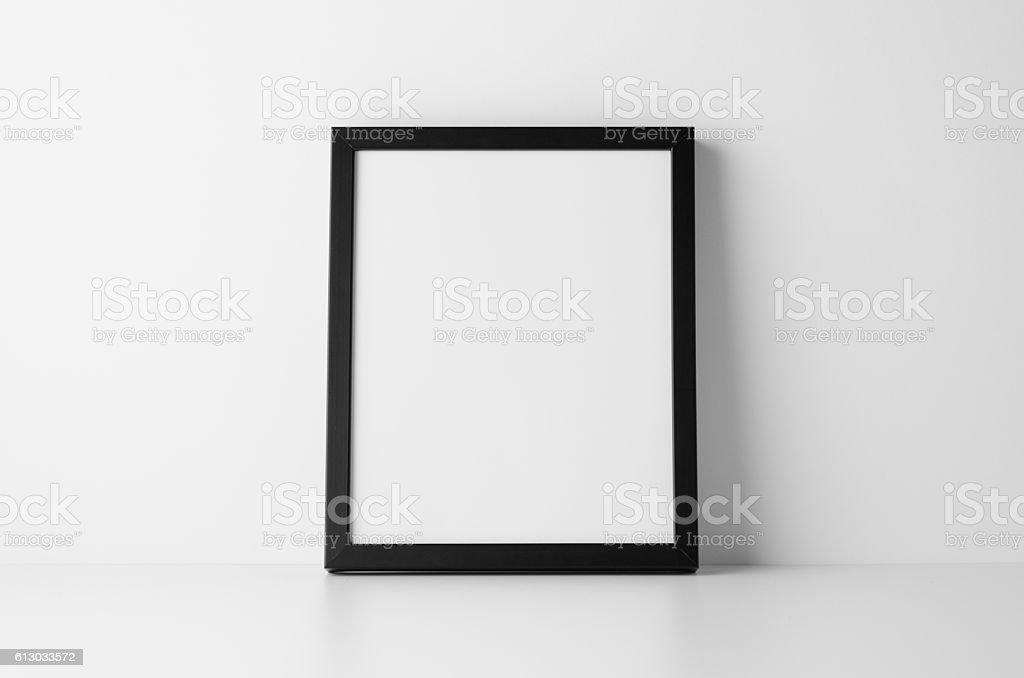 8x10 Black Frame Mock-Up - Portrait stock photo
