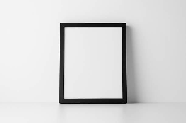 8x10 black frame mock-up - portrait - anrichte weiß stock-fotos und bilder