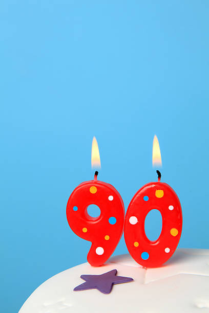 90th birthday candles - number 90 stock photos and pictures