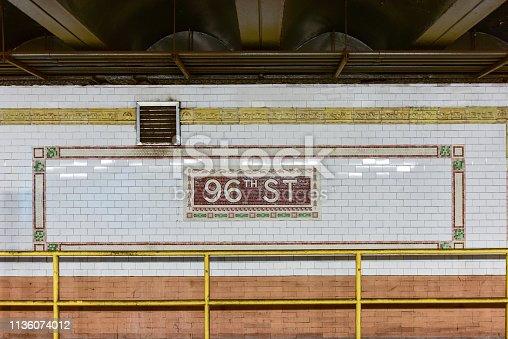 New York City - August 19, 2017: 96th Street Subway Station in the New York City Subway System on the 1/2/3 train line.