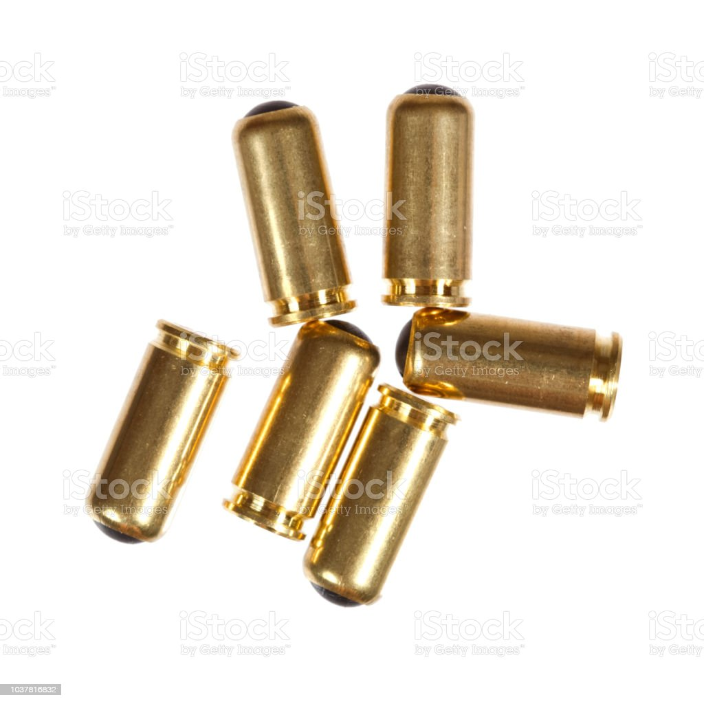 9mm bullet for a gun isolated on white background. High resolution photo. stock photo