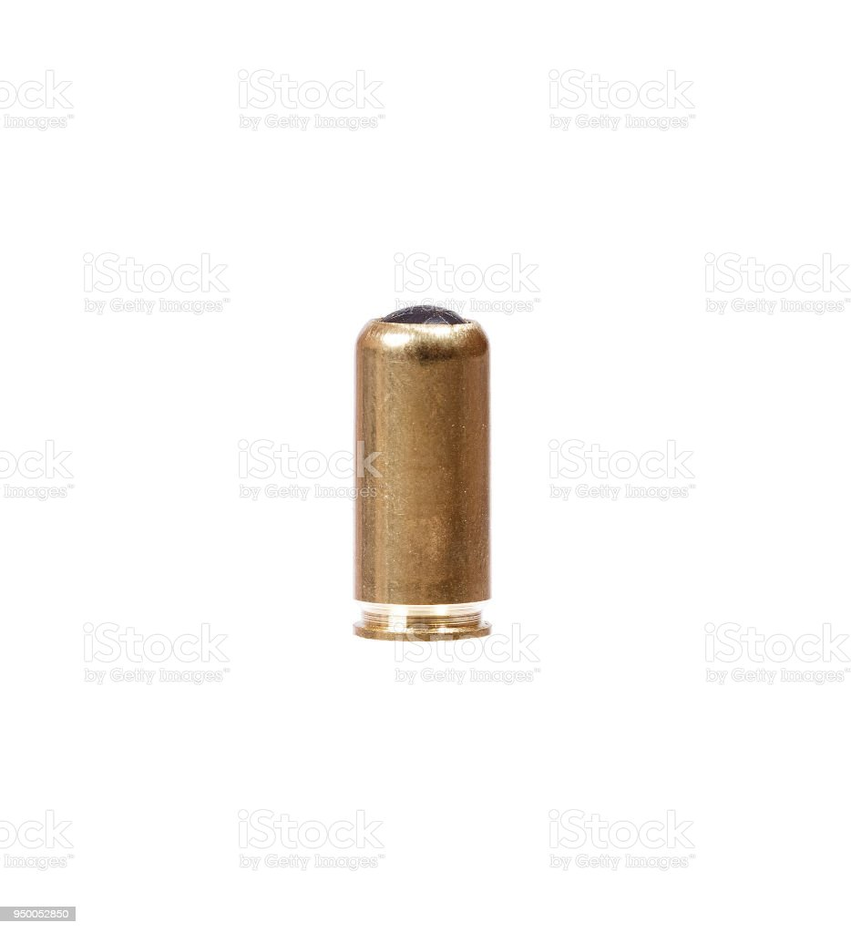 9mm bullet for a gun isolated on white stock photo