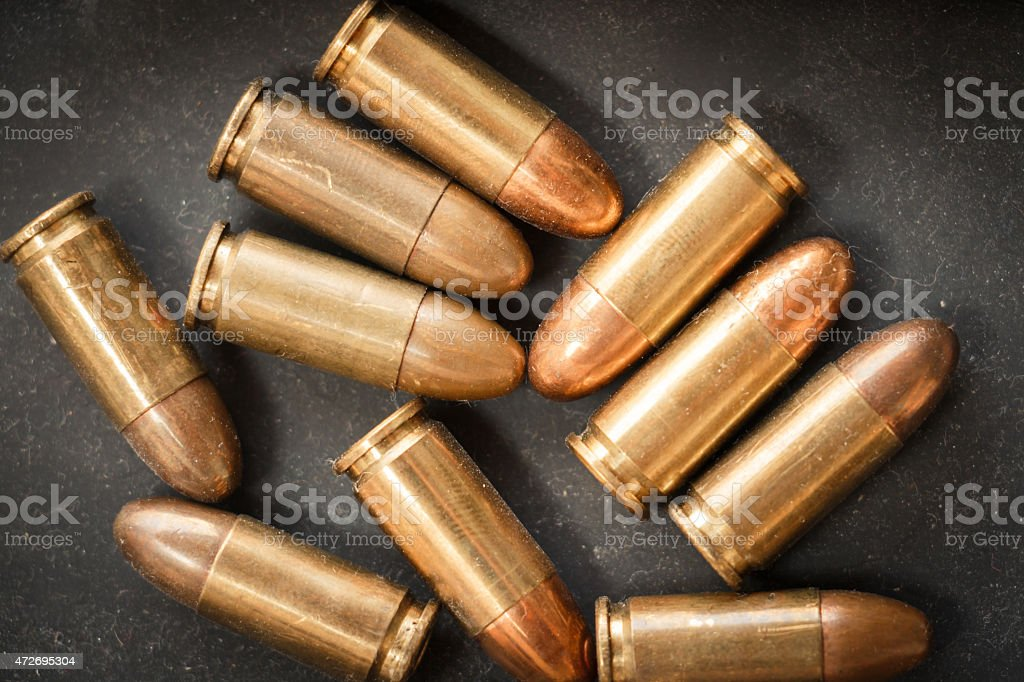 9mm bullet for a gun stock photo