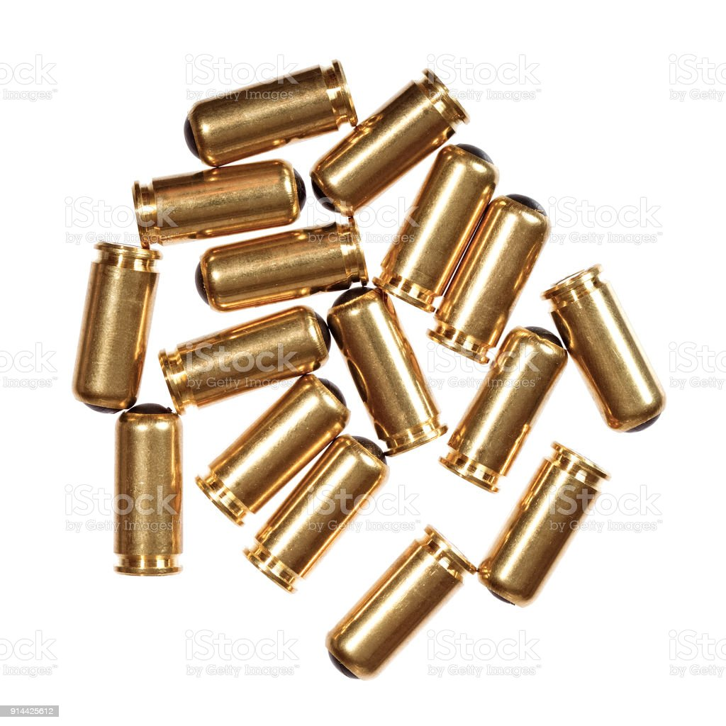 9mm bullets isolated on white stock photo
