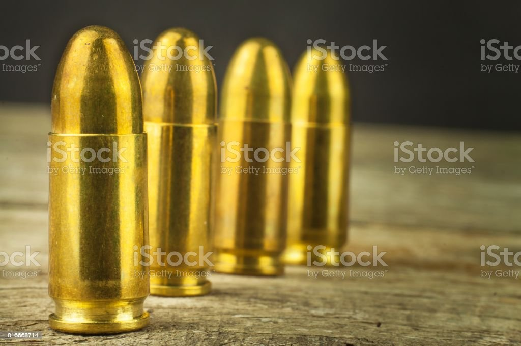 9mm caliber cartridges. Sale of weapons and ammunition. The right to bear arms. stock photo
