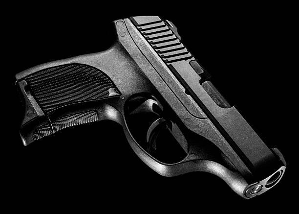 9mm Handgun in Black and White stock photo