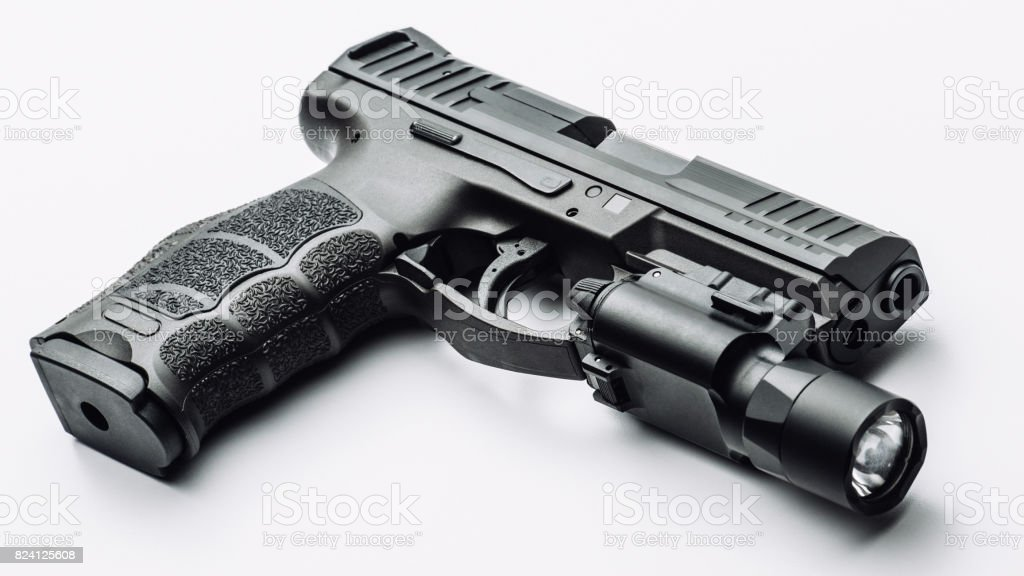 9mm Handgun With Tac Light Stock Photo - Download Image Now