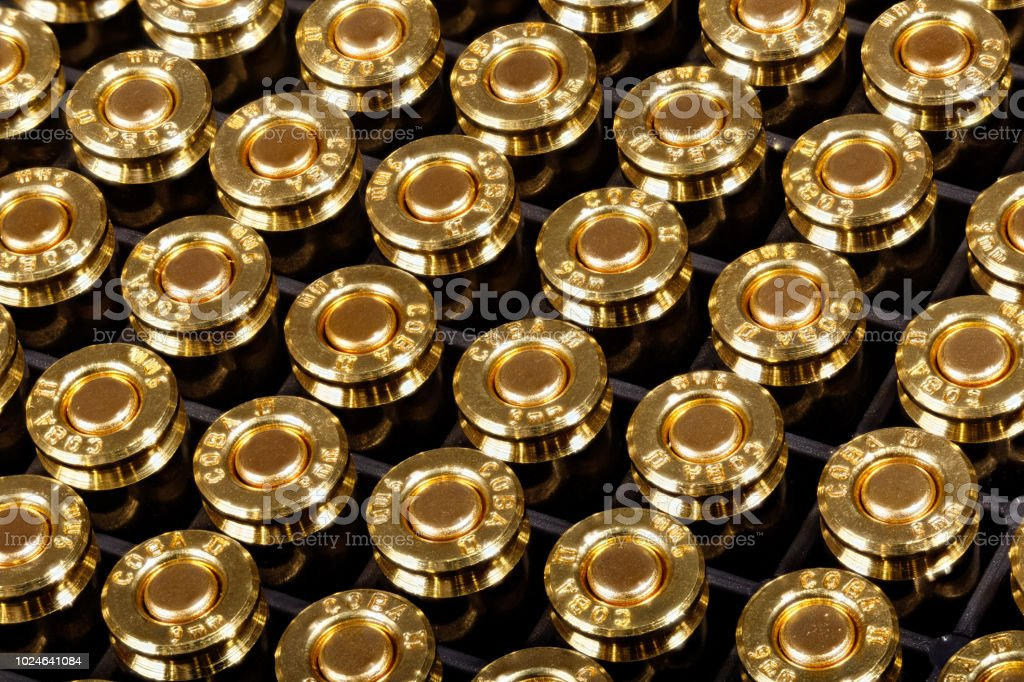 9mm pistol ammunition - the world's most popular and widely used stock photo