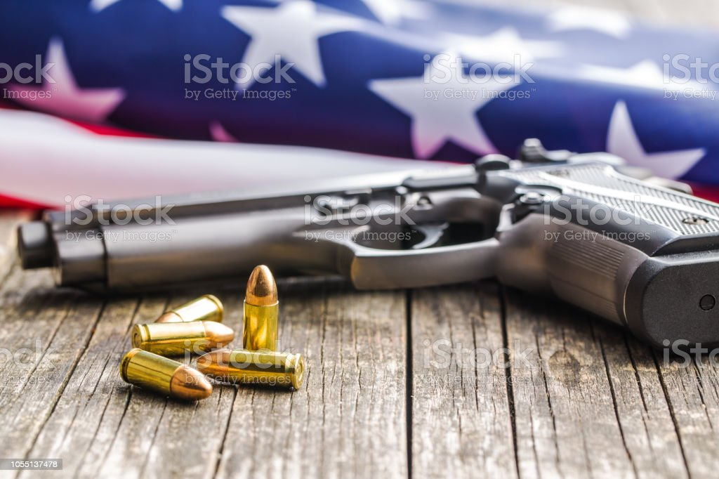 9mm Pistol Bullets And Handgun Stock Photo - Download Image