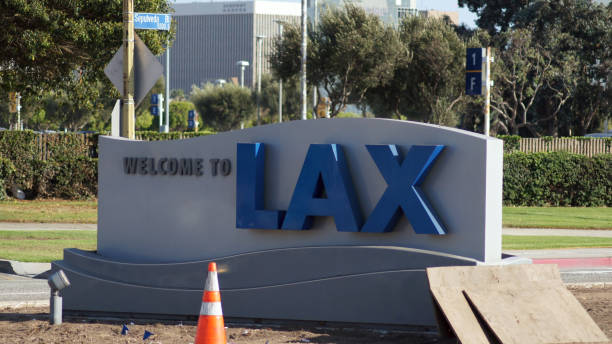 LOS ANGELES, CALIFORNIA, USA - OCT 9th, 2014: Welcome to LAX sign on Sepulveda Blvd. The LA airport is the sixth busiest in the world and third in the U.S stock photo