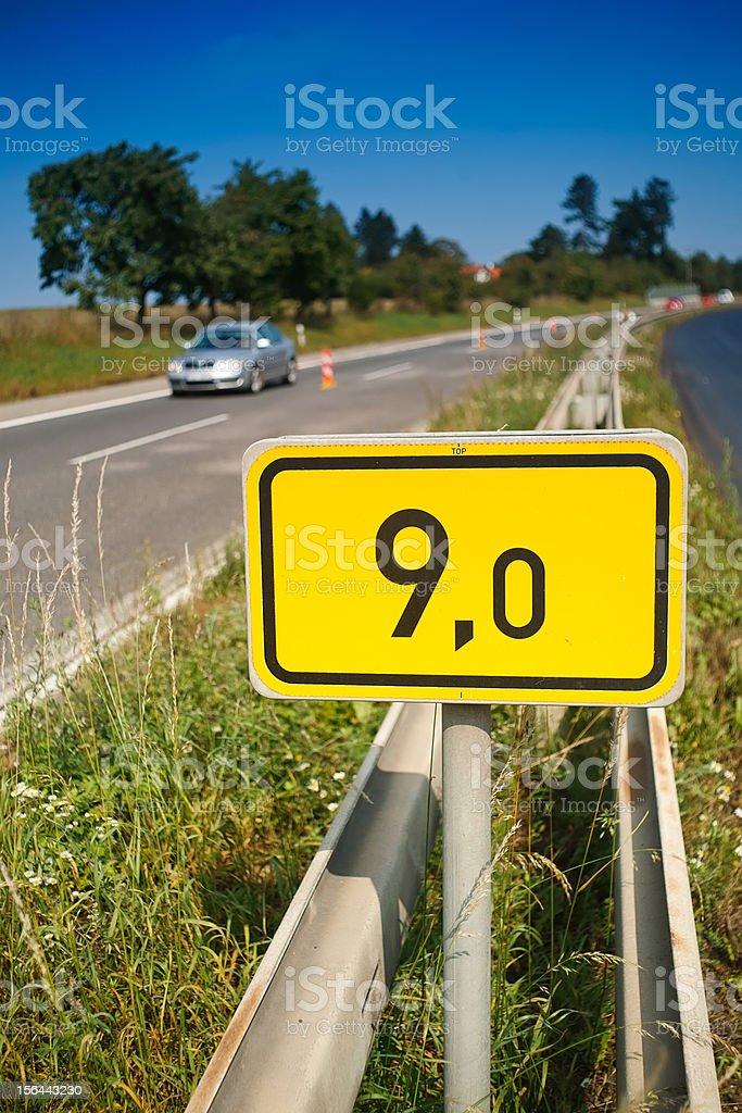9th Kilometer Road signal royalty-free stock photo