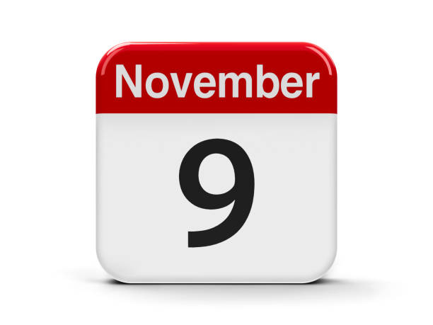 9th November Calendar web button - The Ninth of November - International Day Against Fascism, Racism and Antisemitism, three-dimensional rendering, 3D illustration 2017 stock pictures, royalty-free photos & images