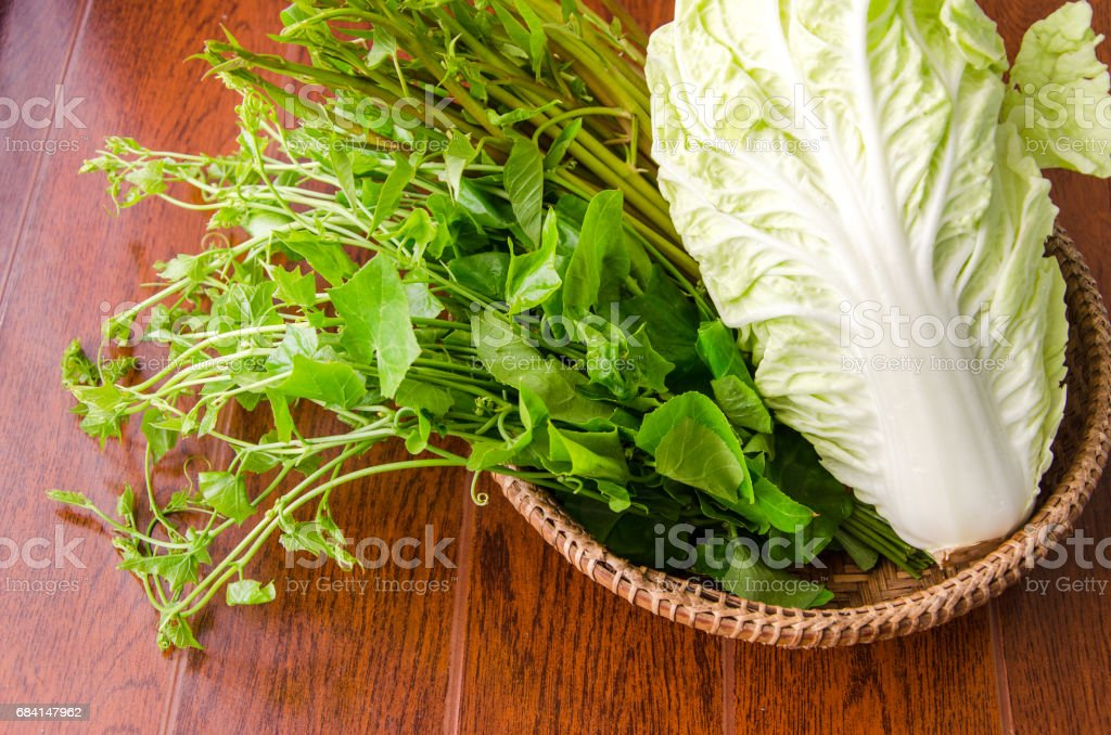 a bamboo  basket  full of vegetable royalty-free stock photo
