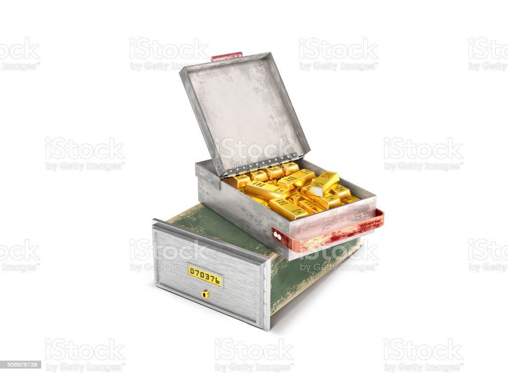 a bank cell with gold bars.3d  illustration стоковое фото