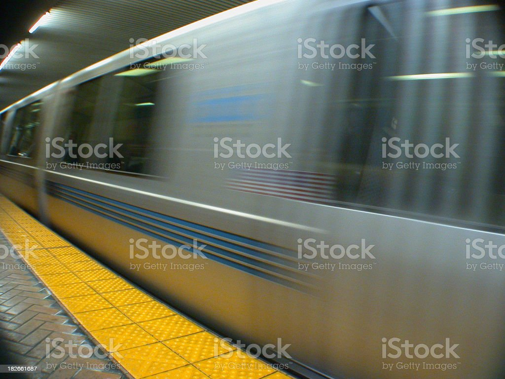a BART in motion - moving fast stock photo
