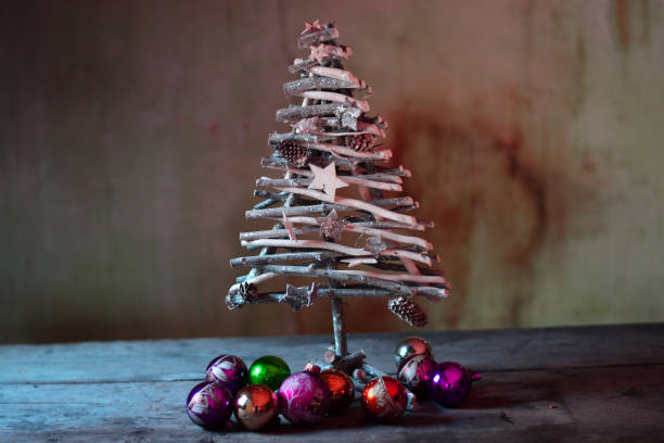 a beautiful Christmas tree ready for Christmas decorations and holidays