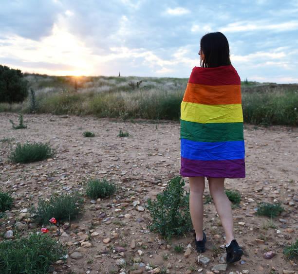 """ゲイプライドフラグを持つ美しい女の子 - """"gender fluid"""" ストックフォトと画像"""