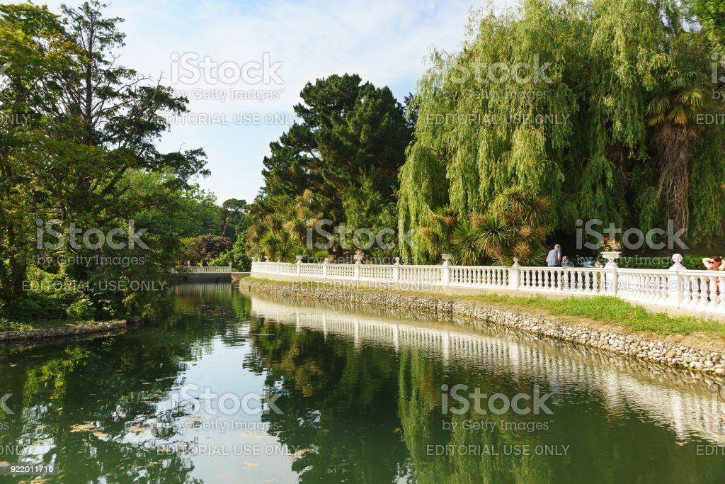 a Beautiful pond in the city Park of a tropical resort town stock photo