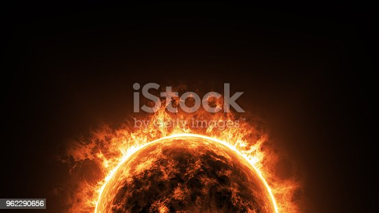 istock a big sun surface with solar flares and copy space on black background, global warming concept. Abstract scientific in universe background. 962290656