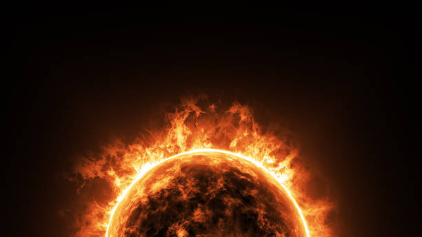 a big sun surface with solar flares and copy space on black background, global warming concept. Abstract scientific in universe background. stock photo