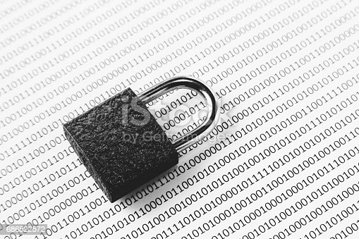 686526046istockphoto a black and white concept image that can be used to represent cyber security or the protection of software code. This image has selective focusing on the padlock 686522572