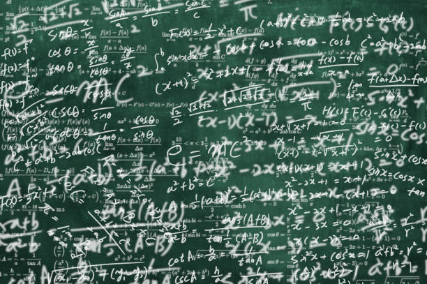 a blackboard full of mathematical formulas. educational concept background stock photo