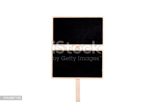923869178 istock photo a blank blackboard label isolated on a white background 1044667162