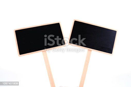 923869178 istock photo a blank blackboard label isolated on a white background 1097401808