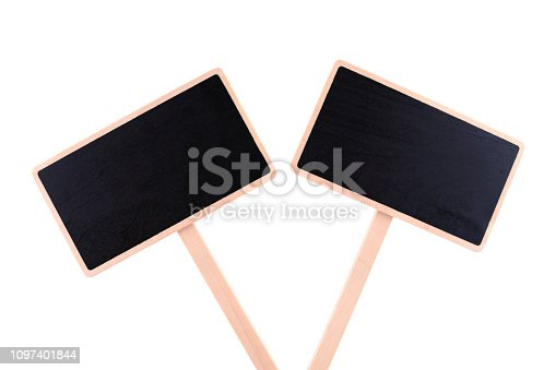 923869178 istock photo a blank blackboard label isolated on a white background 1097401844